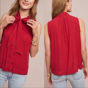 Cloth & Stone Sleeveless Tie Neck Blouse Red S